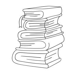 Книга за оцветяване: Купчина книги