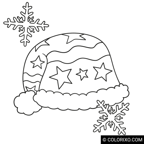 Coloring book: Winter cap with pompom