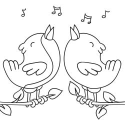 Livros de colorir: Pássaros a cantar