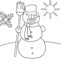 Kleurplaten: Vrolijke sneeuwpop
