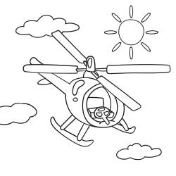 Kolorowanki: Czerwony helikopter