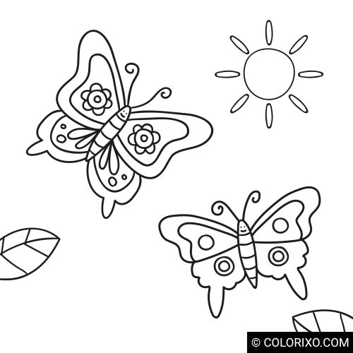 Malbuch: Zwei Schmetterlinge
