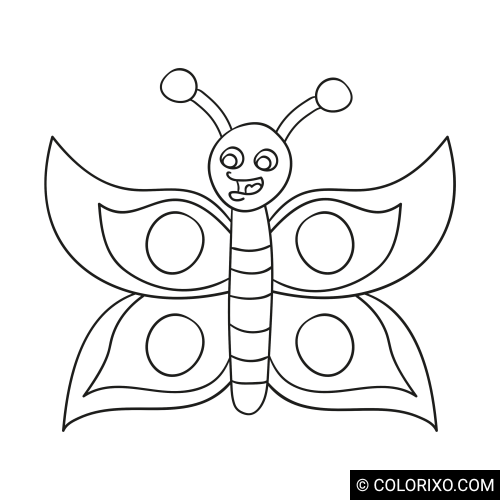 Розмальовки: Яскраво забарвлений метелик