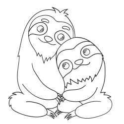 Coloring book: A pair of sloths