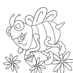 Maľovanky: Včielka s vedierkom