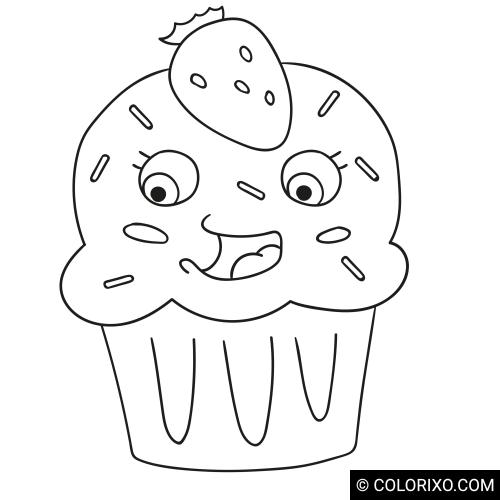 Omalovánky: Cupcake s jahodou