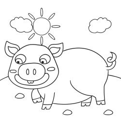 Kolorowanki: Wesoła świnka