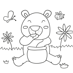 Coloring book: Teddy bear with honey