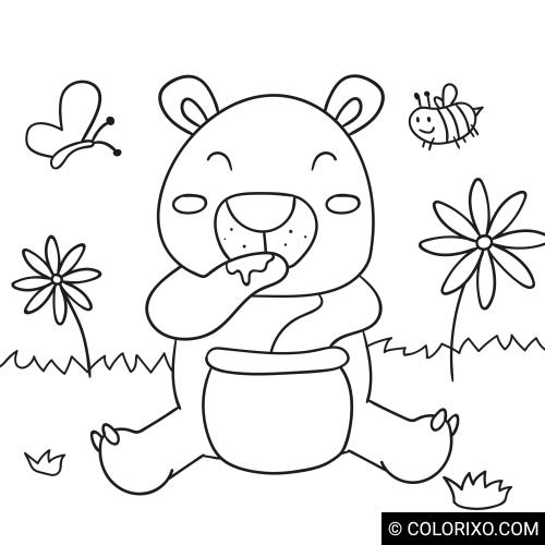 Omalovánky: Medvídek s medem