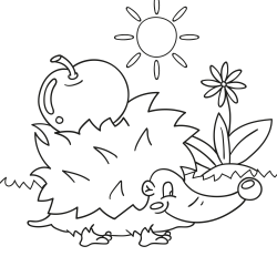 Coloring book: Hedgehog with an apple