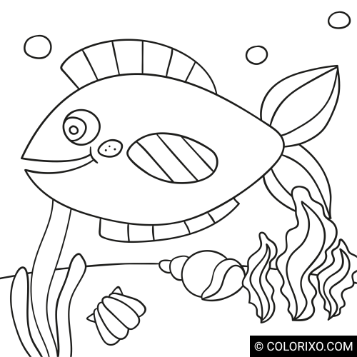 Розмальовки: Яскраво забарвлена риба