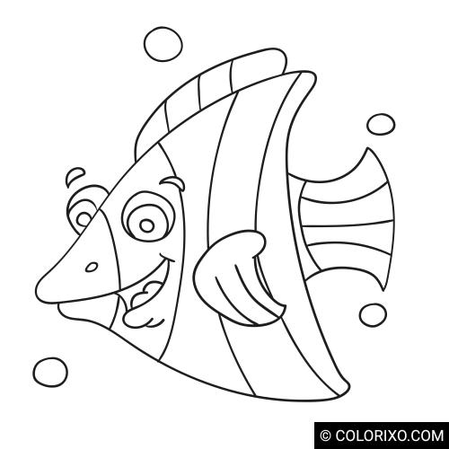 Kleurplaten: Gestreepte vis