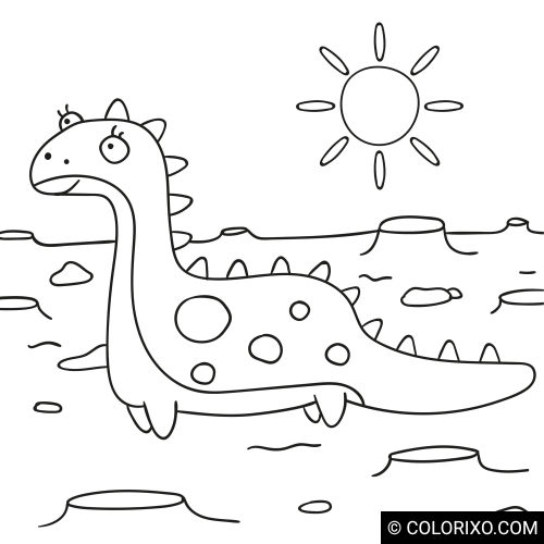 Coloring book: Dinosaur on the plain