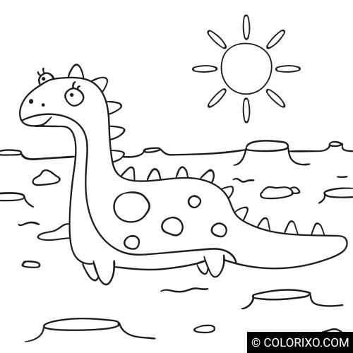 Kolorowanki: Dinozaur na równinie
