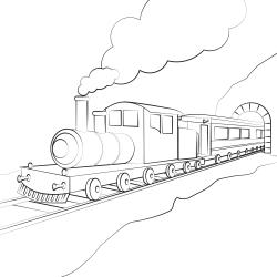 Disegni da colorare: Locomotiva con vagone