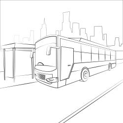 Kolorowanki: Autobus na przystanku autobusowym