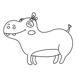 Книга за оцветяване: Весел хипопотам