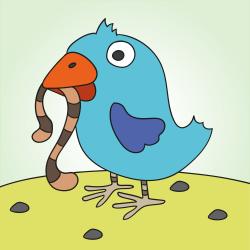 Птах із земляним черв'яком